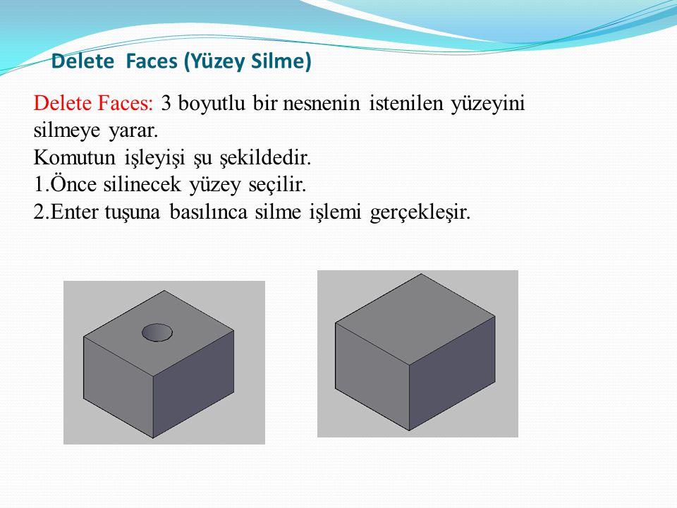 Delete Faces (Yüzey Silme) Delete Faces: 3 boyutlu bir nesnenin istenilen yüzeyini silmeye yarar. Komutun işleyişi şu şekildedir. 1.Önce silinecek yüz