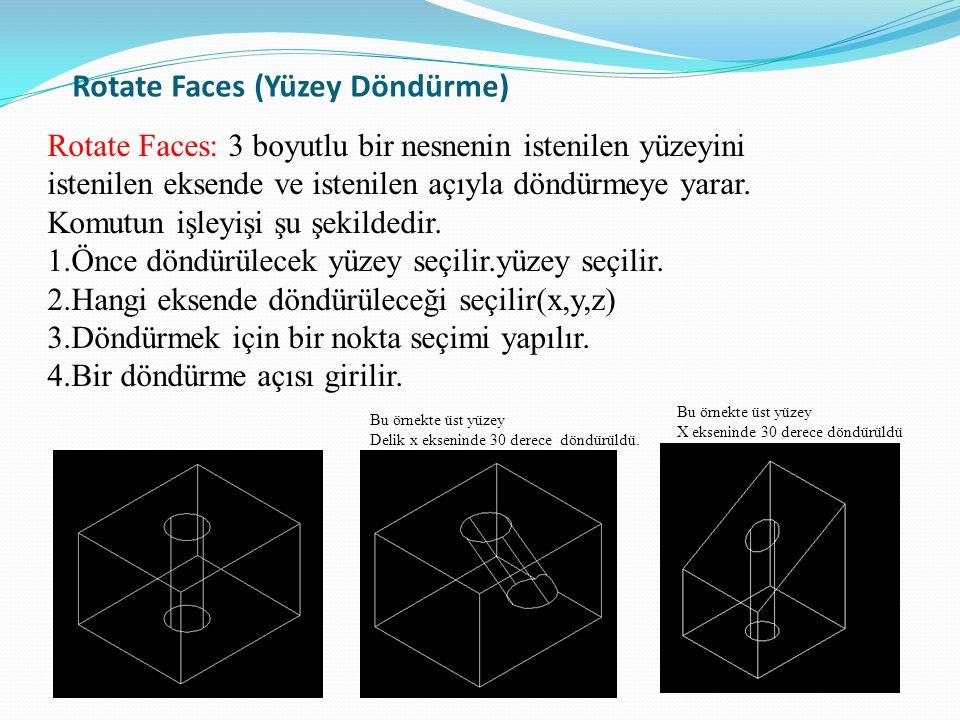 Rotate Faces (Yüzey Döndürme) Rotate Faces: 3 boyutlu bir nesnenin istenilen yüzeyini istenilen eksende ve istenilen açıyla döndürmeye yarar. Komutun