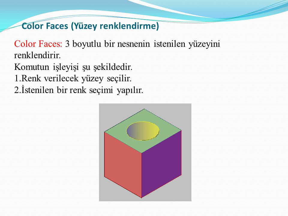 Color Faces (Yüzey renklendirme) Color Faces: 3 boyutlu bir nesnenin istenilen yüzeyini renklendirir. Komutun işleyişi şu şekildedir. 1.Renk verilecek
