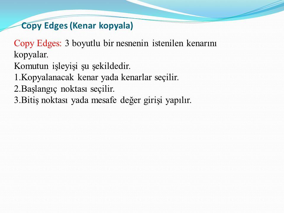 Copy Edges (Kenar kopyala) Copy Edges: 3 boyutlu bir nesnenin istenilen kenarını kopyalar. Komutun işleyişi şu şekildedir. 1.Kopyalanacak kenar yada k
