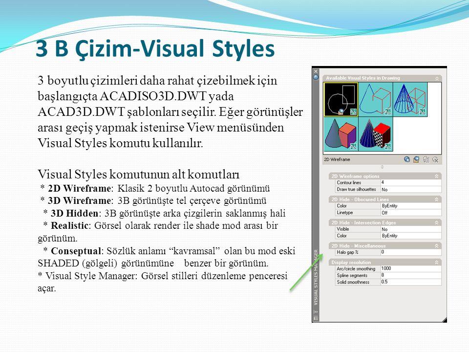 3 B Çizim-Visual Styles 3 boyutlu çizimleri daha rahat çizebilmek için başlangıçta ACADISO3D.DWT yada ACAD3D.DWT şablonları seçilir. Eğer görünüşler a
