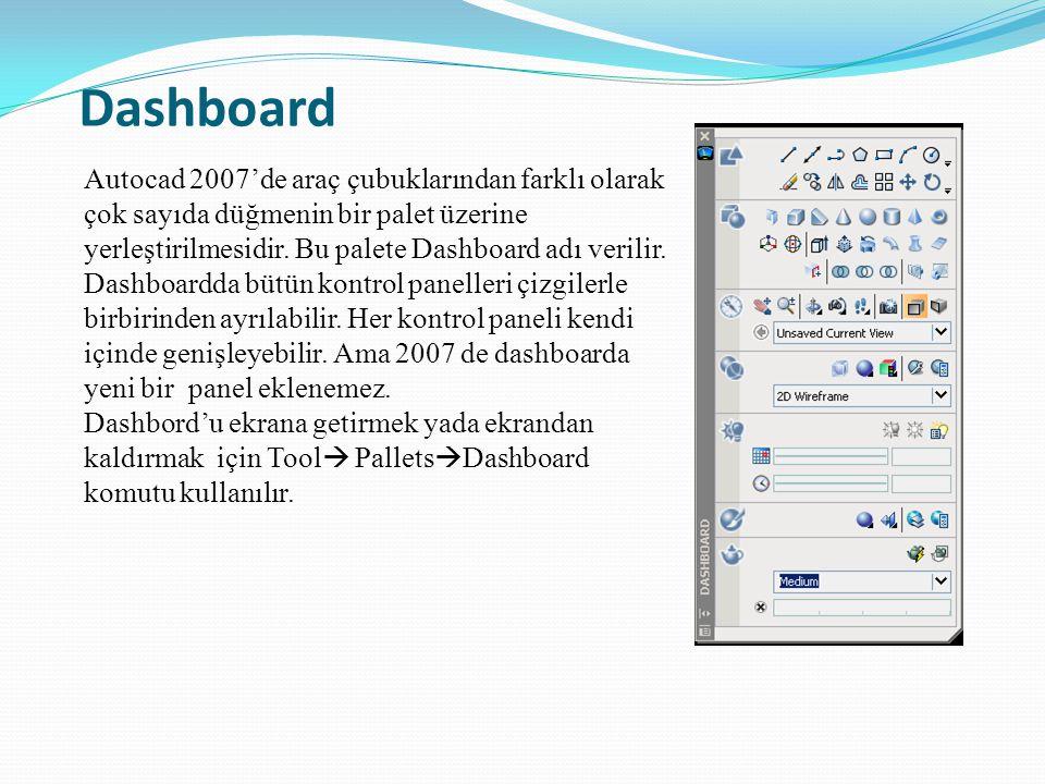 Dashboard Autocad 2007'de araç çubuklarından farklı olarak çok sayıda düğmenin bir palet üzerine yerleştirilmesidir. Bu palete Dashboard adı verilir.