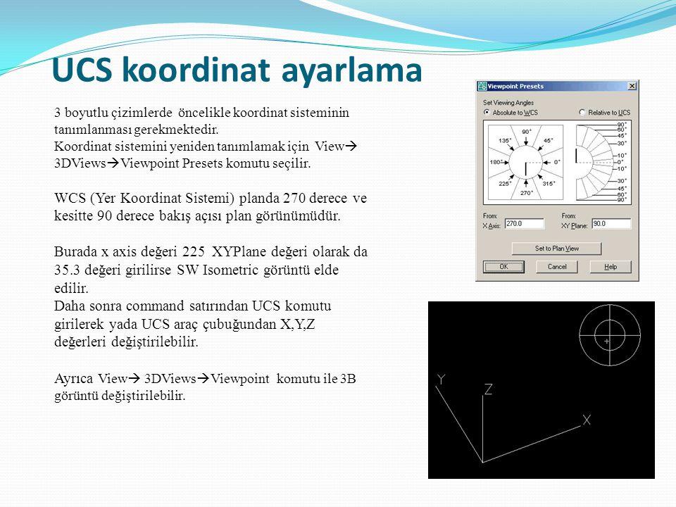 UCS koordinat ayarlama 3 boyutlu çizimlerde öncelikle koordinat sisteminin tanımlanması gerekmektedir. Koordinat sistemini yeniden tanımlamak için Vie