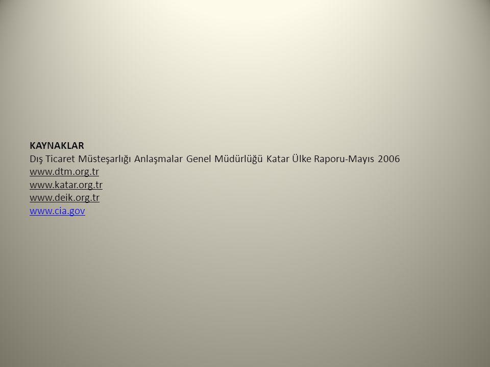 KAYNAKLAR Dış Ticaret Müsteşarlığı Anlaşmalar Genel Müdürlüğü Katar Ülke Raporu-Mayıs 2006 www.dtm.org.tr www.katar.org.tr www.deik.org.tr www.cia.gov