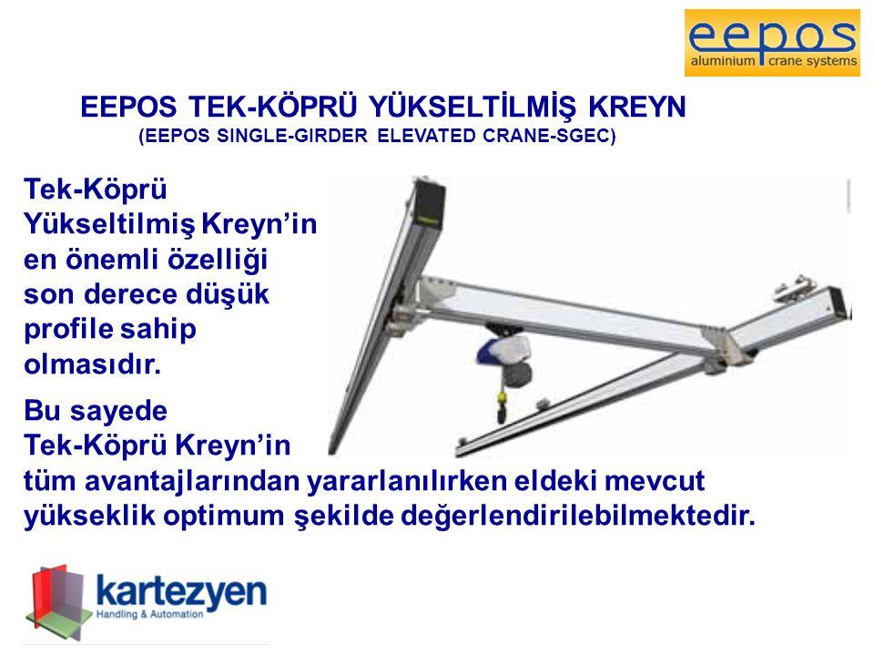 EEPOS TEK-KÖPRÜ YÜKSELTİLMİŞ KREYN (EEPOS SINGLE-GIRDER ELEVATED CRANE-SGEC) Tek-Köprü Yükseltilmiş Kreyn'in en önemli özelliği son derece düşük profile sahip olmasıdır.