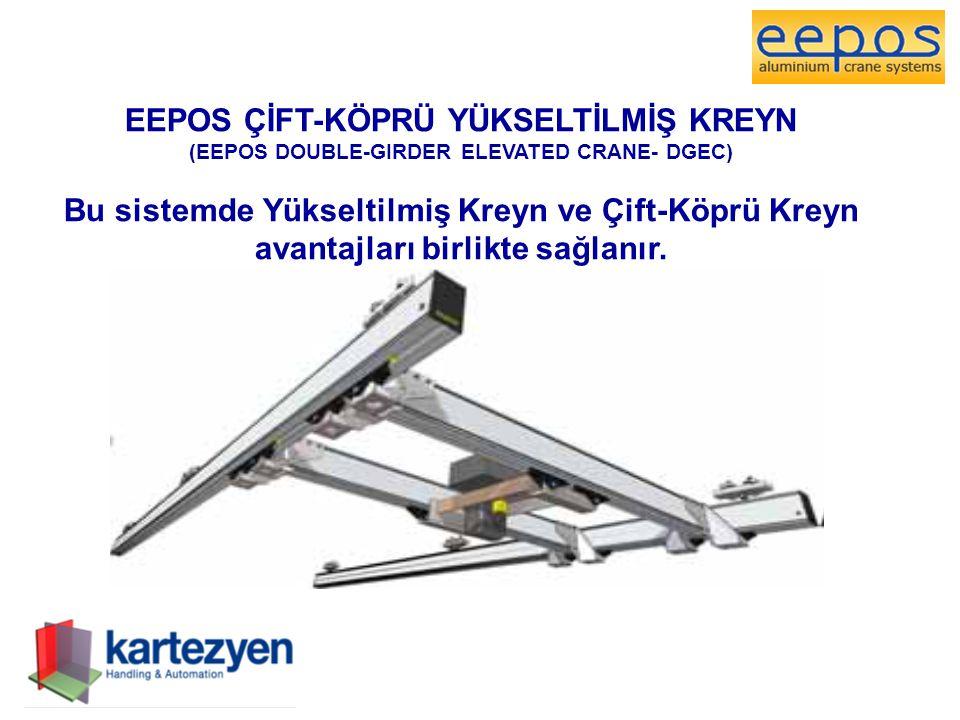 EEPOS ÇİFT-KÖPRÜ YÜKSELTİLMİŞ KREYN (EEPOS DOUBLE-GIRDER ELEVATED CRANE- DGEC) Bu sistemde Yükseltilmiş Kreyn ve Çift-Köprü Kreyn avantajları birlikte sağlanır.
