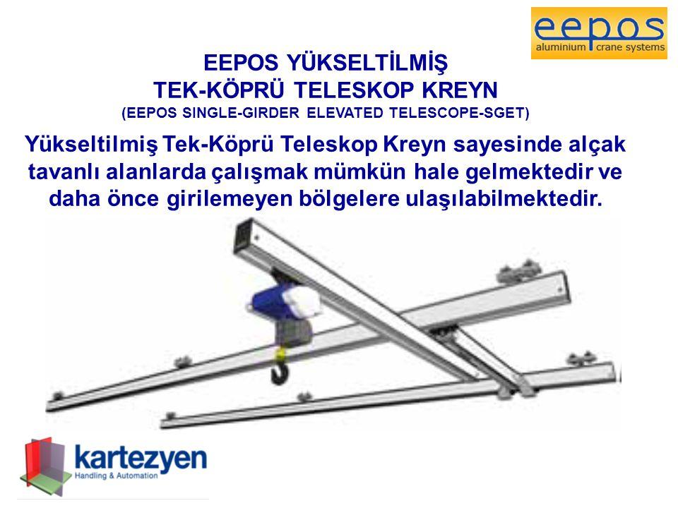 EEPOS YÜKSELTİLMİŞ TEK-KÖPRÜ TELESKOP KREYN (EEPOS SINGLE-GIRDER ELEVATED TELESCOPE-SGET) Yükseltilmiş Tek-Köprü Teleskop Kreyn sayesinde alçak tavanl
