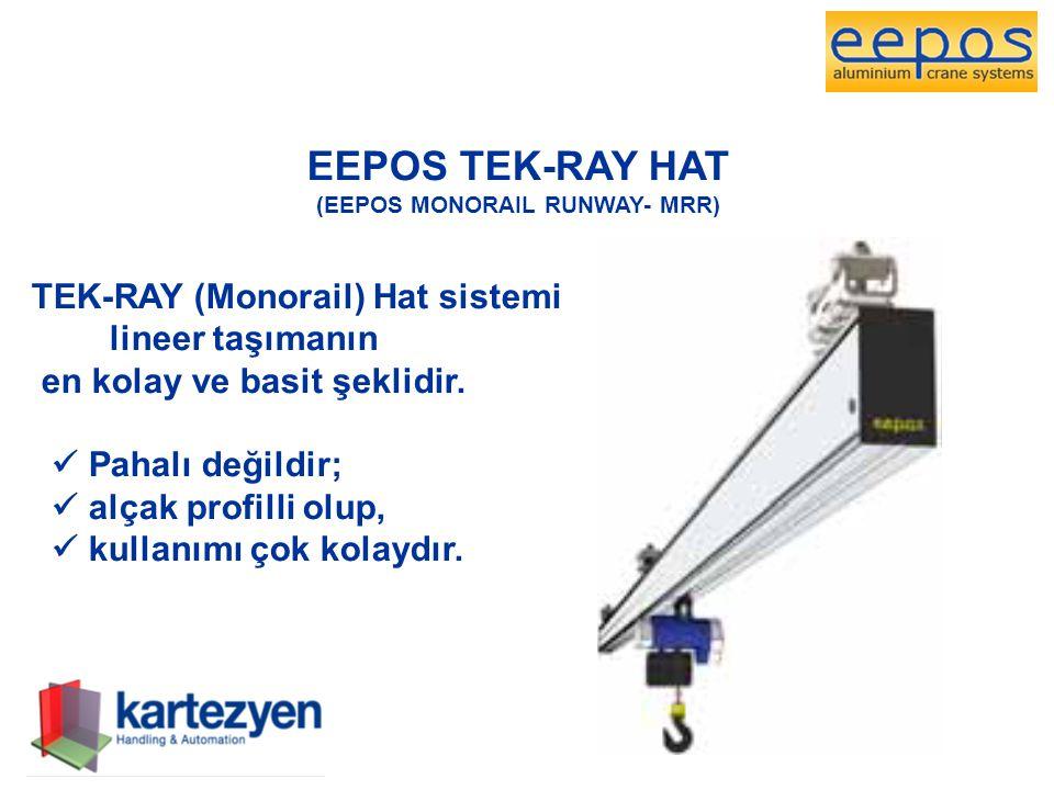 EEPOS TEK-RAY HAT (EEPOS MONORAIL RUNWAY- MRR) TEK-RAY (Monorail) Hat sistemi lineer taşımanın en kolay ve basit şeklidir.  Pahalı değildir;  alçak