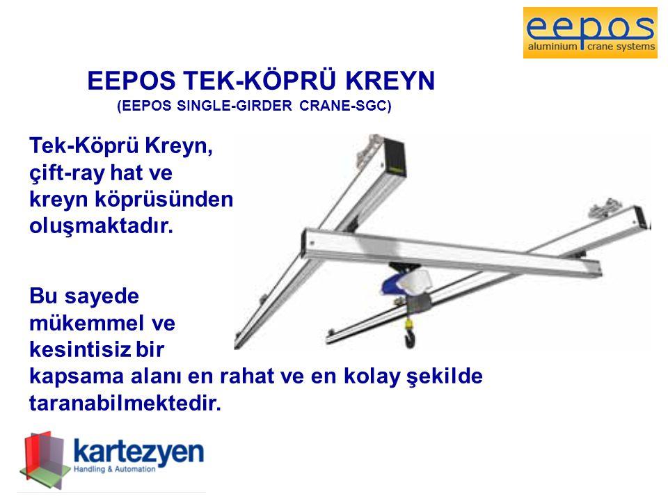 EEPOS TEK-KÖPRÜ KREYN (EEPOS SINGLE-GIRDER CRANE-SGC) Tek-Köprü Kreyn, çift-ray hat ve kreyn köprüsünden oluşmaktadır. Bu sayede mükemmel ve kesintisi
