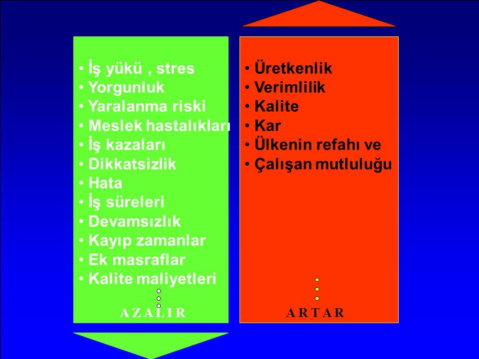 • İş yükü, stres • Yorgunluk • Yaralanma riski • Meslek hastalıkları • İş kazaları • Dikkatsizlik • Hata • İş süreleri • Devamsızlık • Kayıp zamanlar