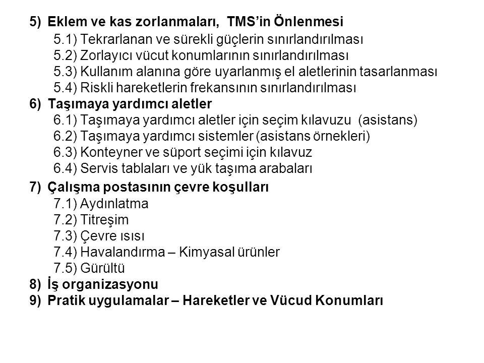 5)Eklem ve kas zorlanmaları, TMS'in Önlenmesi 5.1) Tekrarlanan ve sürekli güçlerin sınırlandırılması 5.2) Zorlayıcı vücut konumlarının sınırlandırılma