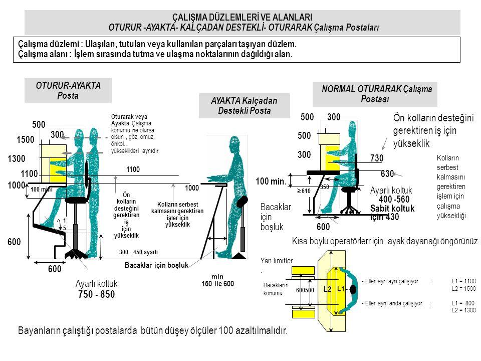 1000 Ön kolların desteğini gerektiren iş için yükseklik Oturarak veya Ayakta, Çalışma konumu ne olursa olsun, göz, omuz, önkol… yükseklikleri aynıdır