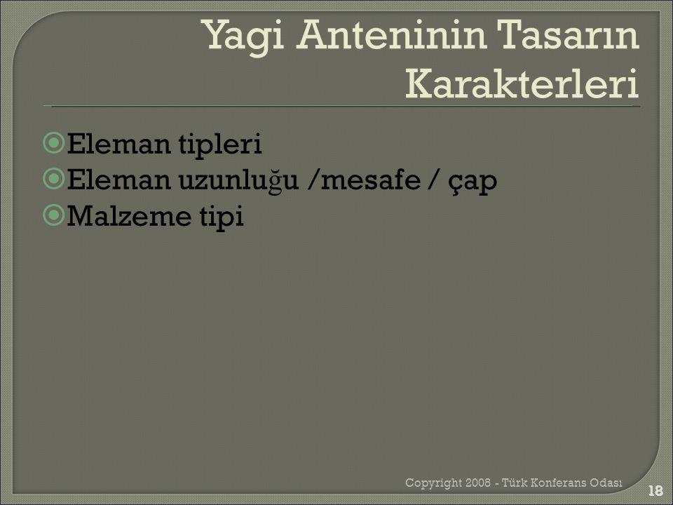  Eleman tipleri  Eleman uzunlu ğ u /mesafe / çap  Malzeme tipi Copyright 2008 - Türk Konferans Odası 18 Yagi Anteninin Tasarın Karakterleri 18