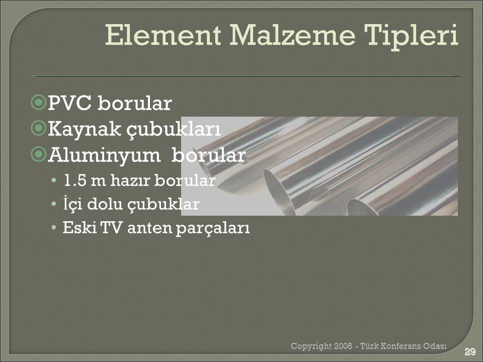  PVC borular  Kaynak çubukları  Aluminyum borular •1.5 m hazır borular • İ çi dolu çubuklar •Eski TV anten parçaları Copyright 2008 - Türk Konferan