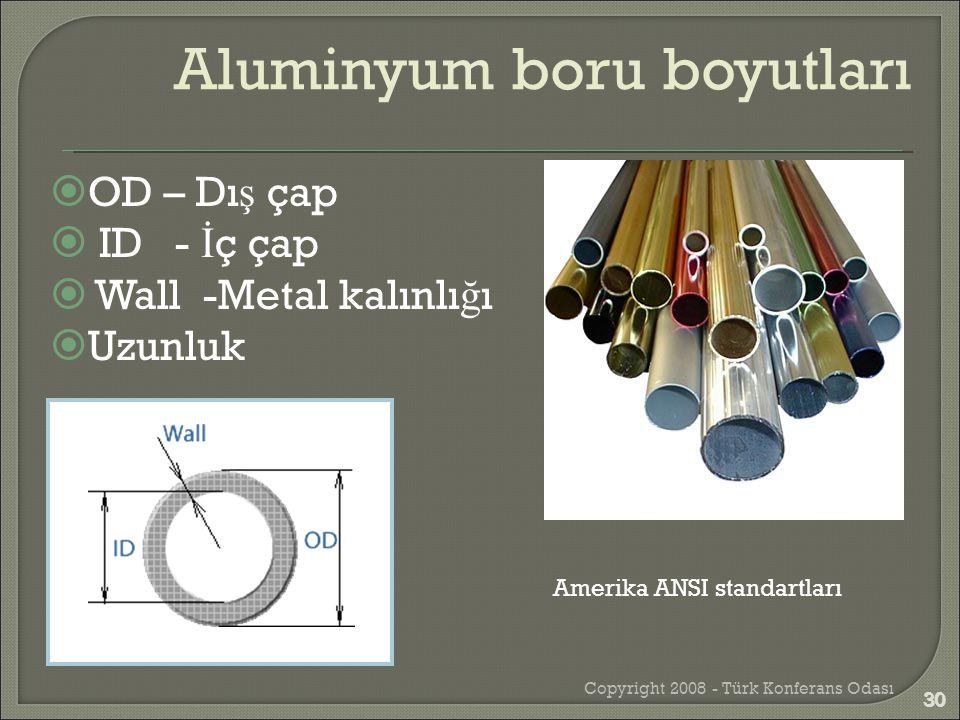  OD – Dı ş çap  ID - İ ç çap  Wall -Metal kalınlı ğ ı  Uzunluk Copyright 2008 - Türk Konferans Odası 30 Amerika ANSI standartları Aluminyum boru b