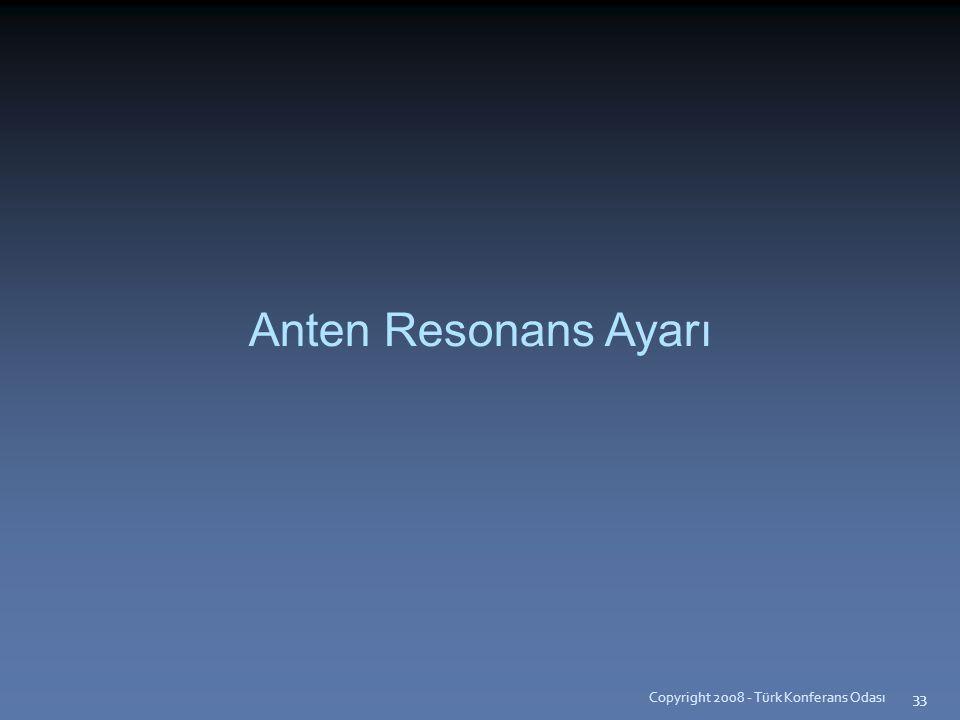 Copyright 2008 - Türk Konferans Odası 33 Anten Resonans Ayarı 33