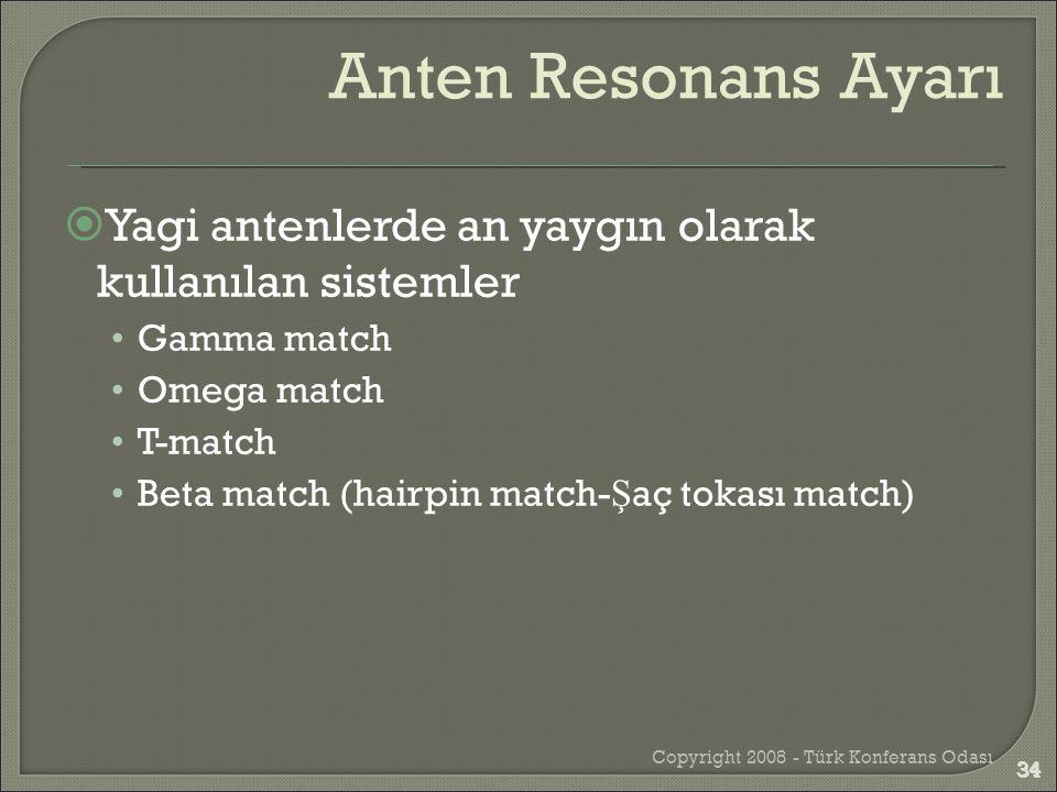  Yagi antenlerde an yaygın olarak kullanılan sistemler •Gamma match •Omega match •T-match •Beta match (hairpin match- Ş aç tokası match) Copyright 20