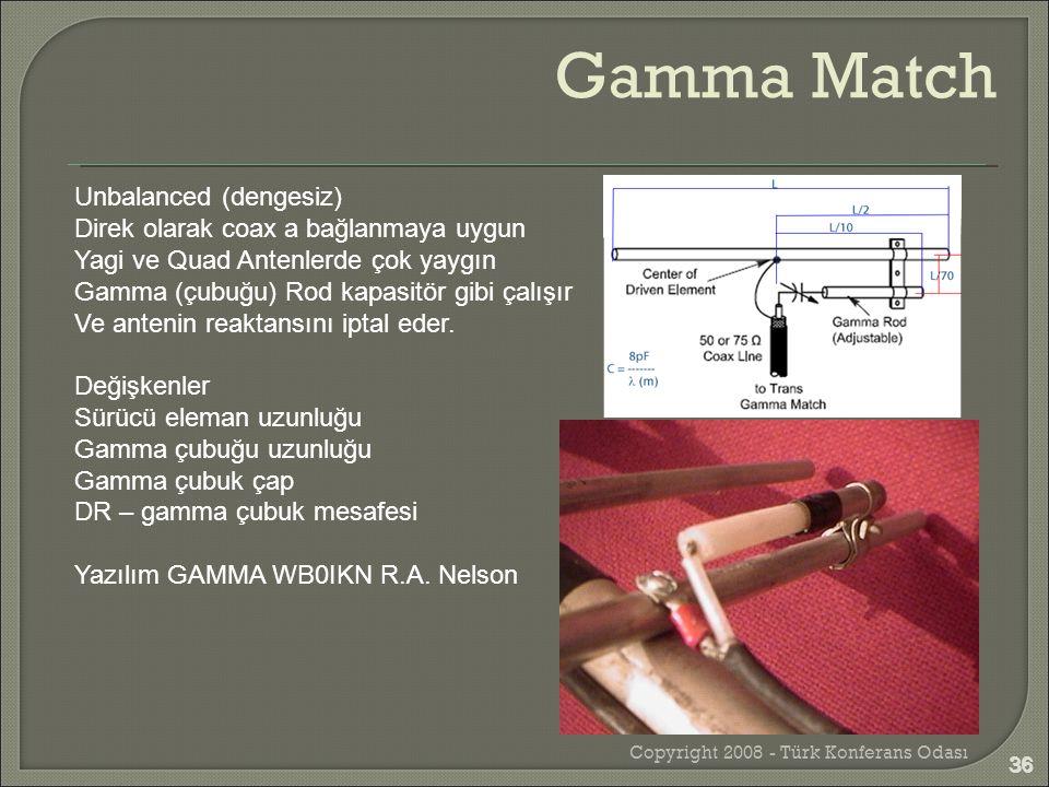 Copyright 2008 - Türk Konferans Odası 36 Unbalanced (dengesiz) Direk olarak coax a bağlanmaya uygun Yagi ve Quad Antenlerde çok yaygın Gamma (çubuğu)