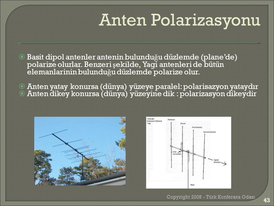 Copyright 2008 - Türk Konferans Odası 43  Basit dipol antenler antenin bulundu ğ u düzlemde (plane'de) polarize olurlar. Benzeri ş ekilde, Yagi anten