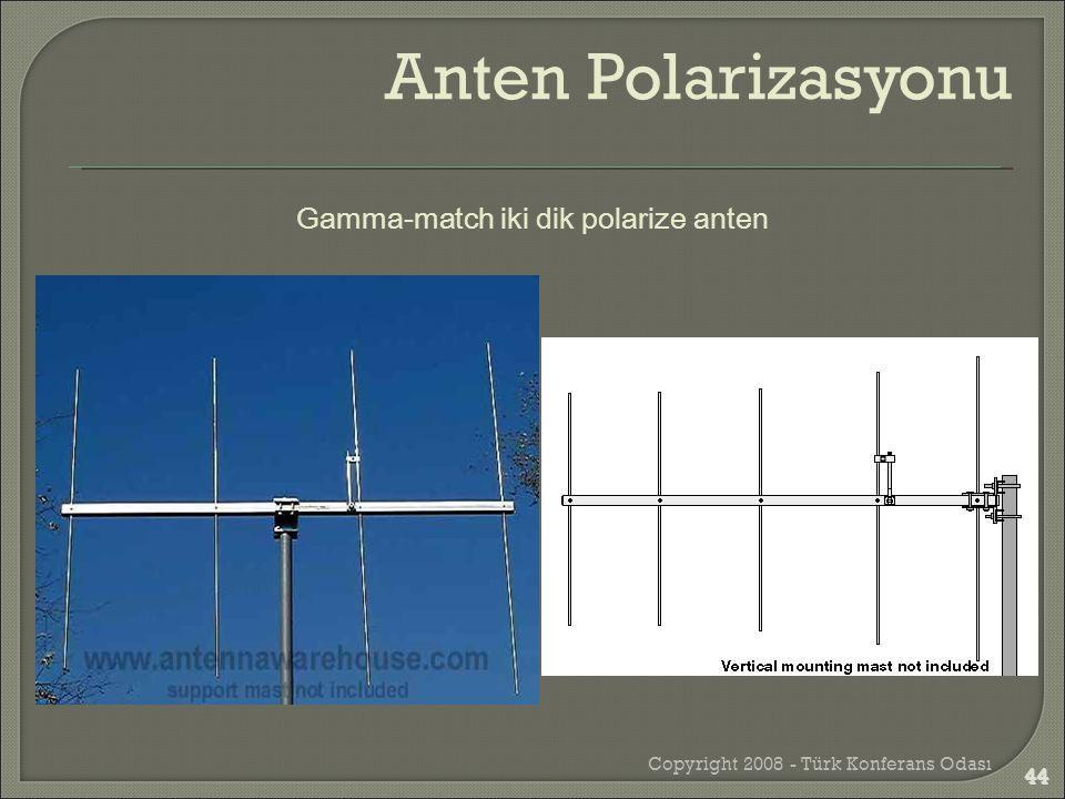 Copyright 2008 - Türk Konferans Odası 44 Gamma-match iki dik polarize anten Anten Polarizasyonu 44
