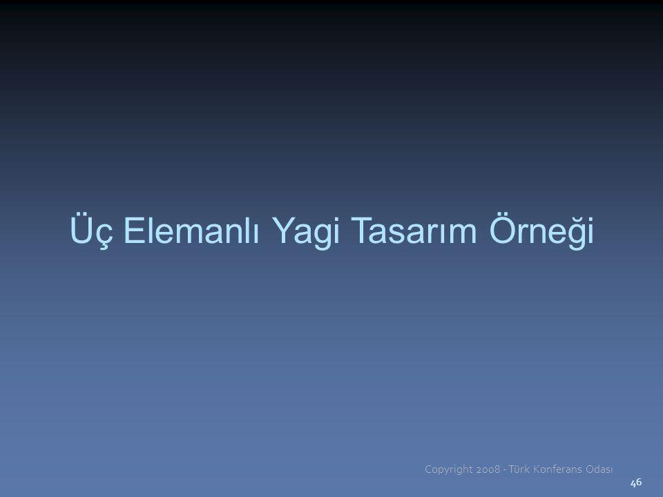 46 Üç Elemanlı Yagi Tasarım Örneği Copyright 2008 - Türk Konferans Odası 46