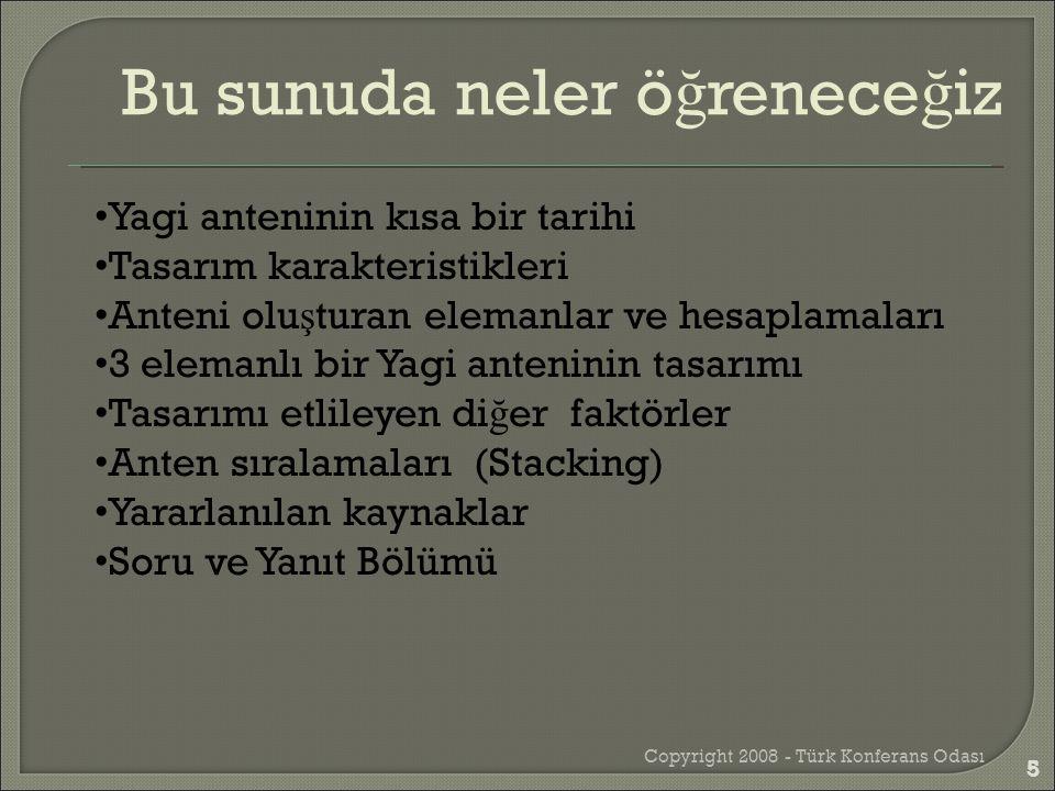 Copyright 2008 - Türk Konferans Odası 26 Toplam kazanç * Elevation Reflektör, sürücü ve direktör 26