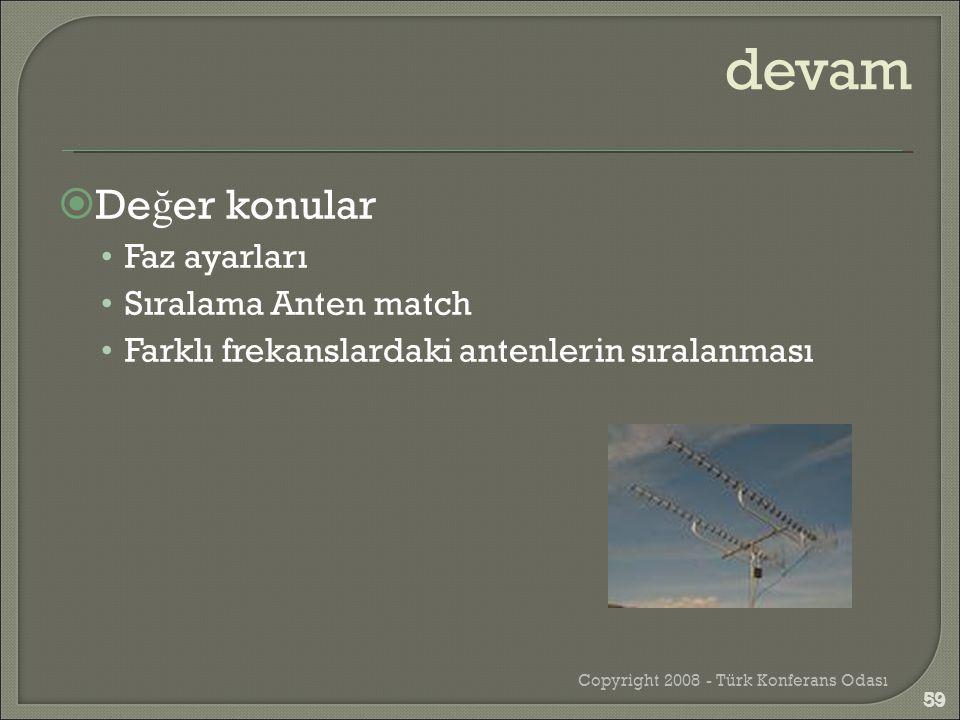  De ğ er konular •Faz ayarları •Sıralama Anten match •Farklı frekanslardaki antenlerin sıralanması Copyright 2008 - Türk Konferans Odası 59 devam 59