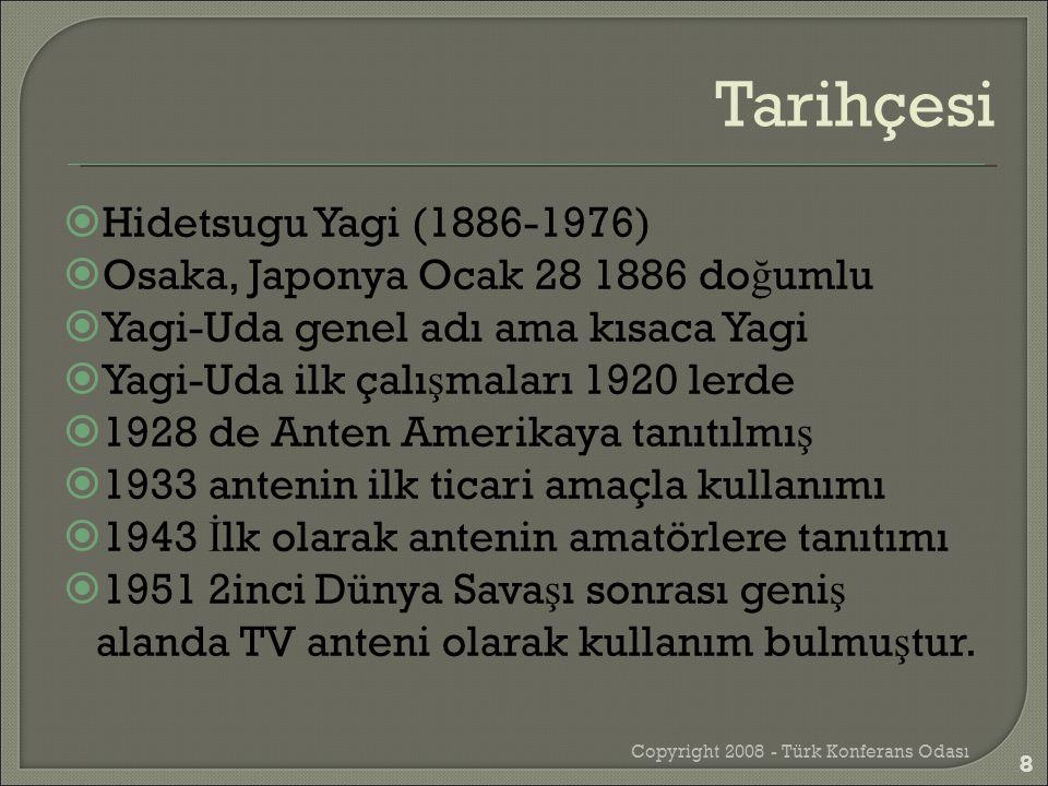  Hidetsugu Yagi (1886-1976)  Osaka, Japonya Ocak 28 1886 do ğ umlu  Yagi-Uda genel adı ama kısaca Yagi  Yagi-Uda ilk çalı ş maları 1920 lerde  19