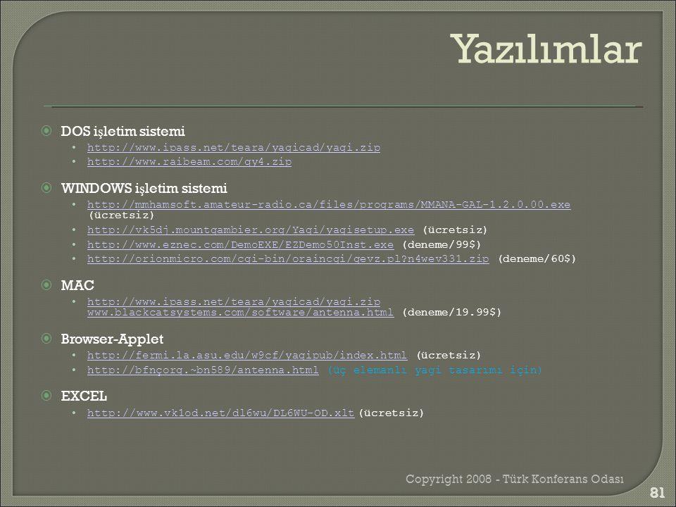  DOS i ş letim sistemi •http://www.ipass.net/teara/yagicad/yagi.ziphttp://www.ipass.net/teara/yagicad/yagi.zip •http://www.raibeam.com/qy4.ziphttp://