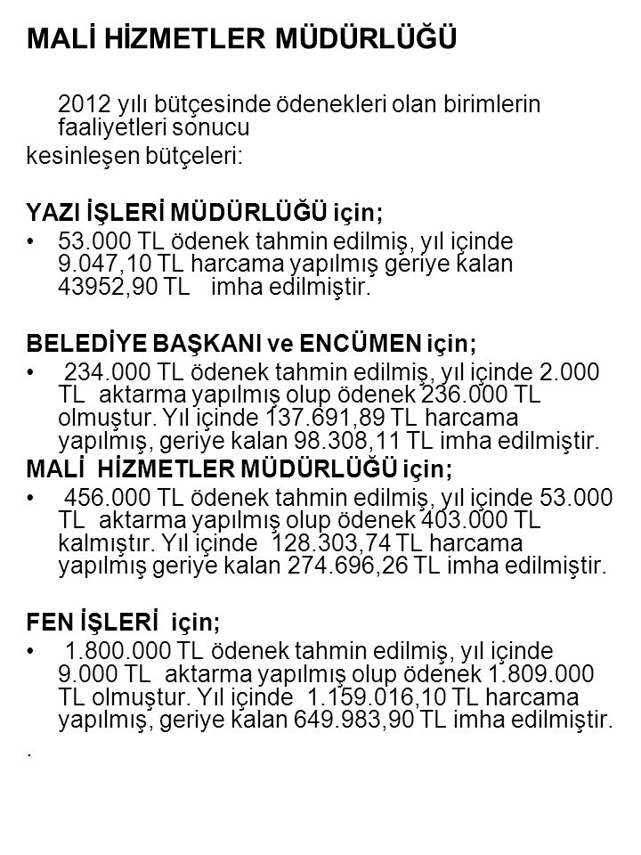 MALİ HİZMETLER MÜDÜRLÜĞÜ 2012 yılı bütçesinde ödenekleri olan birimlerin faaliyetleri sonucu kesinleşen bütçeleri: YAZI İŞLERİ MÜDÜRLÜĞÜ için; •53.000