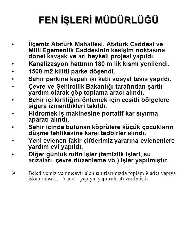 •İlçemiz Atatürk Mahallesi, Atatürk Caddesi ve Milli Egemenlik Caddesinin kesişim noktasına dönel kavşak ve arı heykeli projesi yapıldı. •Kanalizasyon