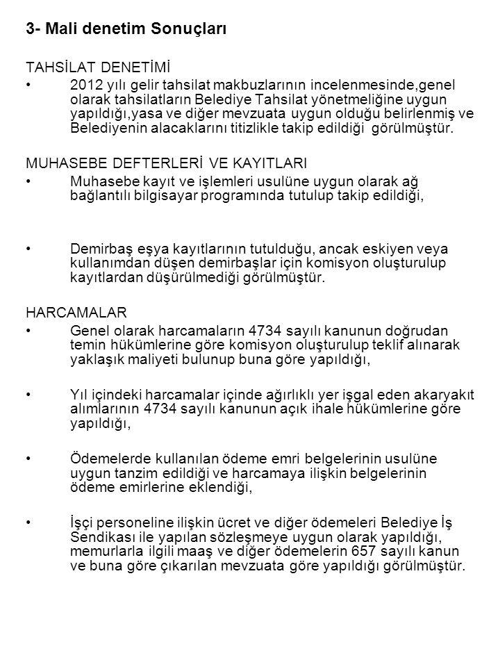 3- Mali denetim Sonuçları TAHSİLAT DENETİMİ •2012 yılı gelir tahsilat makbuzlarının incelenmesinde,genel olarak tahsilatların Belediye Tahsilat yönetm