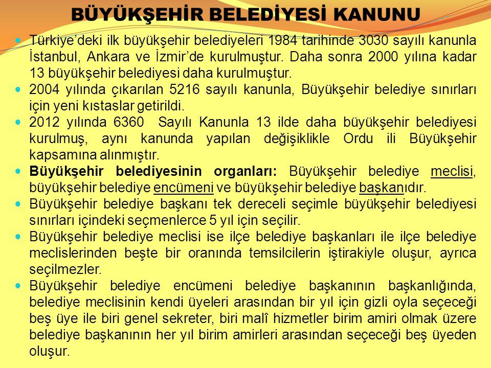 BÜYÜKŞEHİR BELEDİYESİ KANUNU  Türkiye'deki ilk büyükşehir belediyeleri 1984 tarihinde 3030 sayılı kanunla İstanbul, Ankara ve İzmir'de kurulmuştur. D