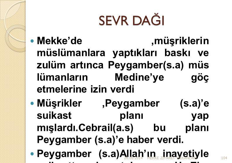 SEVR DA Ğ I  Mekke'de,müşriklerin müslümanlara yaptıkları baskı ve zulüm artınca Peygamber(s.a) müs lümanların Medine'ye göç etmelerine izin verdi 
