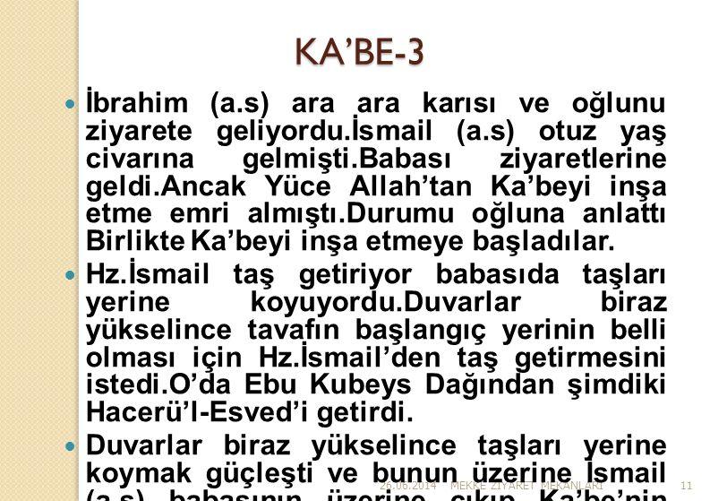 26.06.2014MEKKE Z İ YARET MEKANLARI11 KA'BE-3  İbrahim (a.s) ara ara karısı ve oğlunu ziyarete geliyordu.İsmail (a.s) otuz yaş civarına gelmişti.Baba