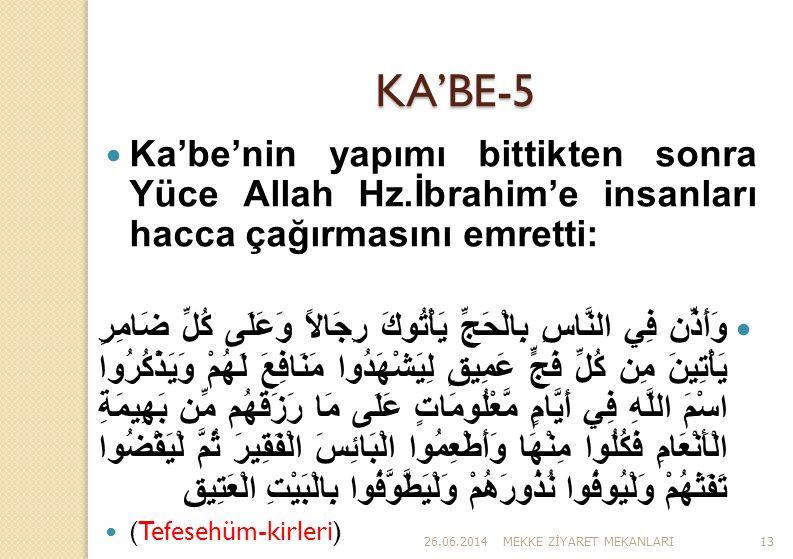 26.06.2014MEKKE Z İ YARET MEKANLARI13 KA'BE-5  Ka'be'nin yapımı bittikten sonra Yüce Allah Hz.İbrahim'e insanları hacca çağırmasını emretti:  وَأَذّ