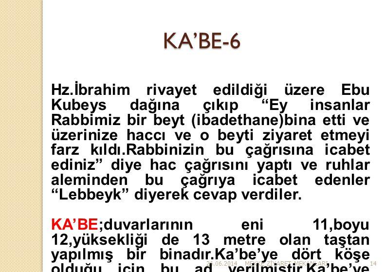 """26.06.2014MEKKE Z İ YARET MEKANLARI14 KA'BE-6 Hz.İbrahim rivayet edildiği üzere Ebu Kubeys dağına çıkıp """"Ey insanlar Rabbimiz bir beyt (ibadethane)bin"""