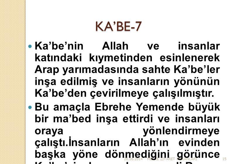 26.06.2014MEKKE Z İ YARET MEKANLARI15 KA'BE-7  Ka'be'nin Allah ve insanlar katındaki kıymetinden esinlenerek Arap yarımadasında sahte Ka'be'ler inşa