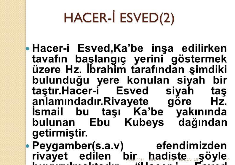 26.06.2014MEKKE Z İ YARET MEKANLARI19 HACER- İ ESVED(2)  Hacer-i Esved,Ka'be inşa edilirken tavafın başlangıç yerini göstermek üzere Hz. İbrahim tara