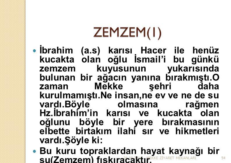 26.06.2014MEKKE Z İ YARET MEKANLARI54 ZEMZEM(1)  İbrahim (a.s) karısı Hacer ile henüz kucakta olan oğlu İsmail'i bu günkü zemzem kuyusunun yukarısınd