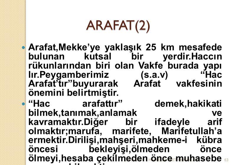 26.06.2014MEKKE Z İ YARET MEKANLARI63 ARAFAT(2)  Arafat,Mekke'ye yaklaşık 25 km mesafede bulunan kutsal bir yerdir.Haccın rükunlarından biri olan Vak
