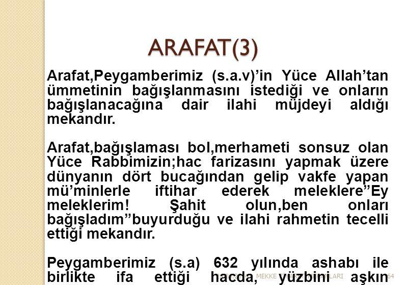 26.06.2014MEKKE Z İ YARET MEKANLARI64 ARAFAT(3) Arafat,Peygamberimiz (s.a.v)'in Yüce Allah'tan ümmetinin bağışlanmasını istediği ve onların bağışlanac