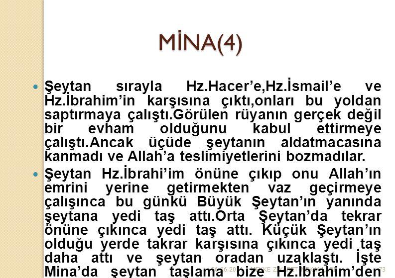 26.06.2014MEKKE Z İ YARET MEKANLARI73 M İ NA(4)  Şeytan sırayla Hz.Hacer'e,Hz.İsmail'e ve Hz.İbrahim'in karşısına çıktı,onları bu yoldan saptırmaya ç