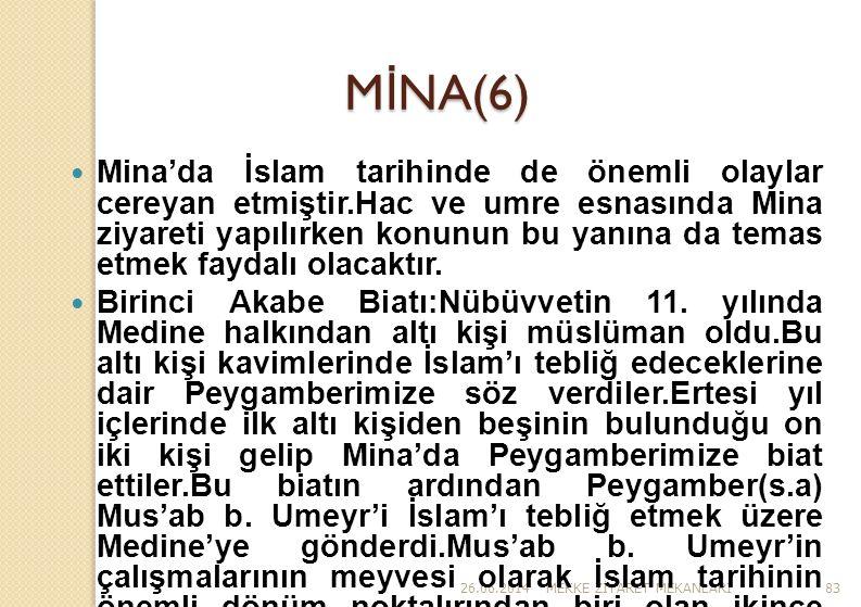 26.06.2014MEKKE Z İ YARET MEKANLARI83 M İ NA(6)  Mina'da İslam tarihinde de önemli olaylar cereyan etmiştir.Hac ve umre esnasında Mina ziyareti yapıl