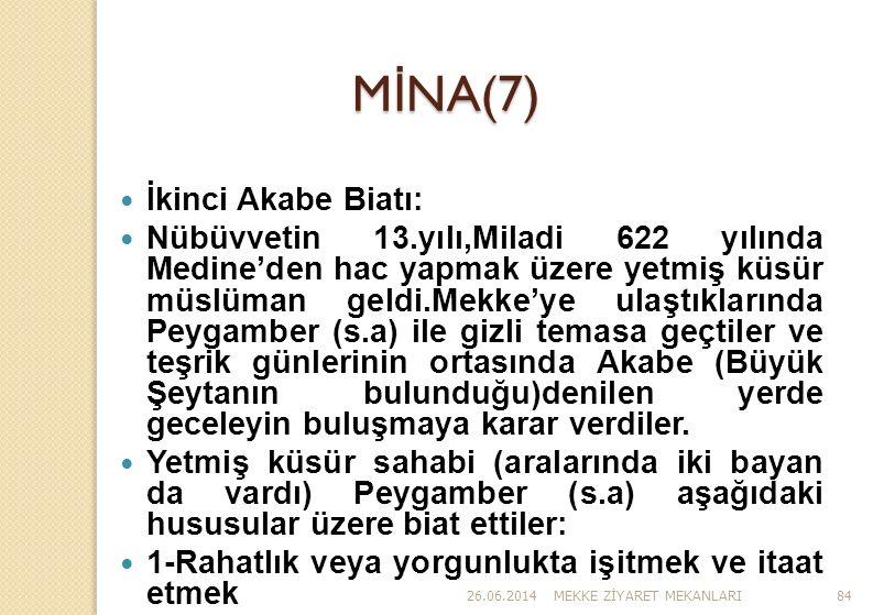 26.06.2014MEKKE Z İ YARET MEKANLARI84 M İ NA(7)  İkinci Akabe Biatı:  Nübüvvetin 13.yılı,Miladi 622 yılında Medine'den hac yapmak üzere yetmiş küsür