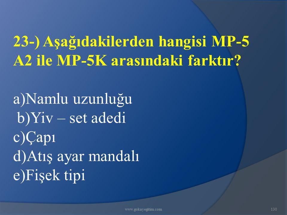 www.gokayegitim.com130 23-) Aşağıdakilerden hangisi MP-5 A2 ile MP-5K arasındaki farktır? a)Namlu uzunluğu b)Yiv – set adedi c)Çapı d)Atış ayar mandal