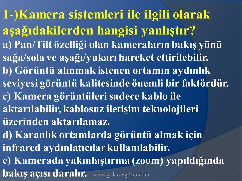 www.gokayegitim.com 6 1-)Kamera sistemleri ile ilgili olarak aşağıdakilerden hangisi yanlıştır.