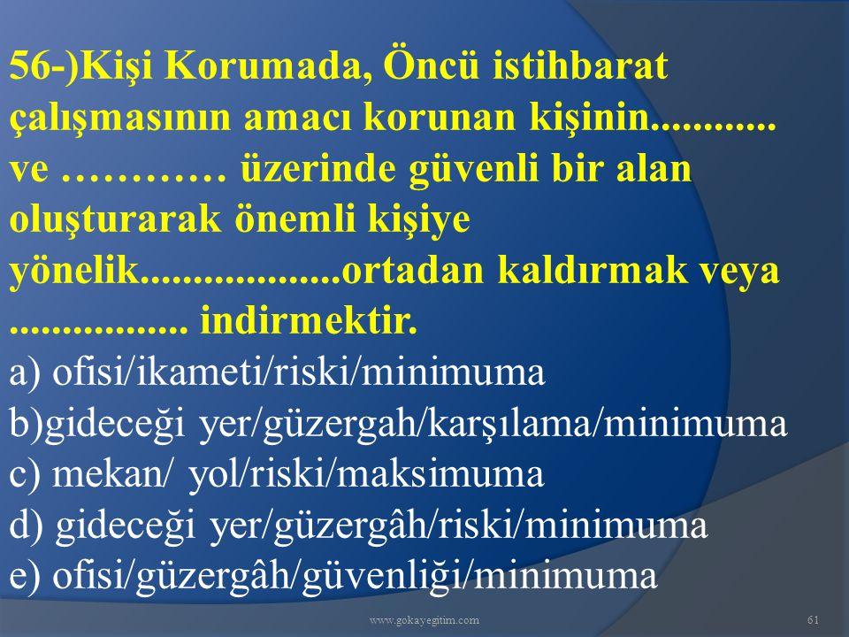 www.gokayegitim.com61 56-)Kişi Korumada, Öncü istihbarat çalışmasının amacı korunan kişinin............