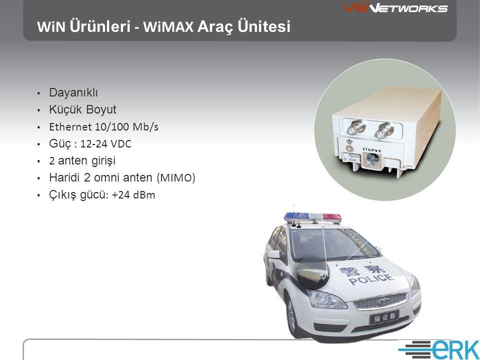 WiN Ürünleri - WiMAX Araç Ünitesi • Dayanıklı • Küçük Boyut • Ethernet 10/100 Mb/s • Güç : 12-24 VDC • 2 anten girişi • Haridi 2 omni anten (MIMO) • Ç