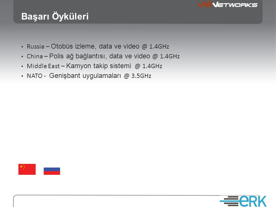 Başarı Öyküleri • Russia – Otobüs izleme, data ve video @ 1.4GHz • China – Polis ağ bağlantısı, data ve video @ 1.4GHz • Middle East – Kamyon takip sistemi @ 1.4GHz • NATO - Genişbant uygulamaları @ 3.5GHz